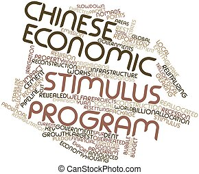 Chinese economic stimulus program - Abstract word cloud for...