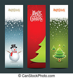 Merry Christmas, banner design vertical background set,...