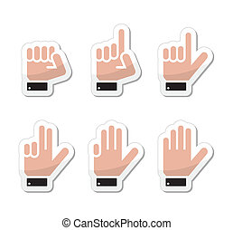 Counting hand signs as labels - Counting cartoon hands...