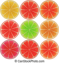 Citrus slices - Various citrus cross-section slices,...