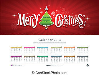 Calendar Merry christmas background