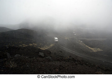 Etna volcano landscape at an altitude of 1,000 meters above sea level