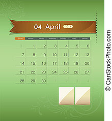 April 2013 calendar ribbon design, vector illustration