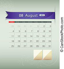 August 2013 calendar ribbon design, vector illustration