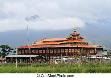 Wooden burmese buddhist monastery on the Inle lake, Myanmar