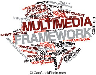 Multimedia framework - Abstract word cloud for Multimedia...