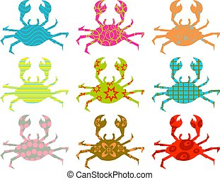 patterned crabs - colourful abstract patterned crab...