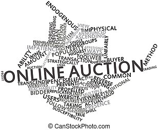 Online auction - Abstract word cloud for Online auction with...
