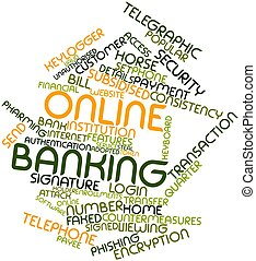 Online banking - Abstract word cloud for Online banking with...