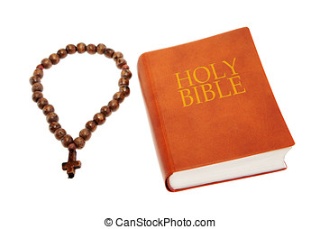 Holy Bible with a a rosary