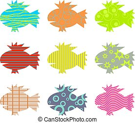 patterned fish - artistic abstract patterned fish wallpaper...