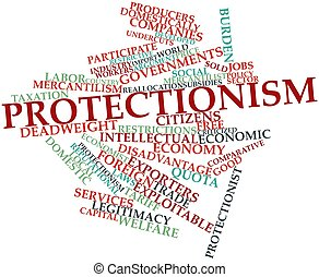 Protectionism - Abstract word cloud for Protectionism with...