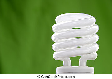 Compact fluorescent bulb with a green background