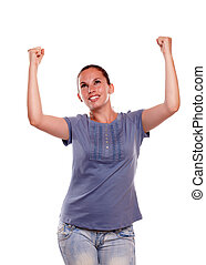 Excited young female celebrating a victory