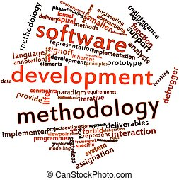 Software development methodology - Abstract word cloud for...