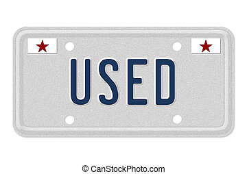 Getting a used car - The word Used on a gray license plate...