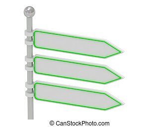 3 Directional signs isolated over white, 3d render...