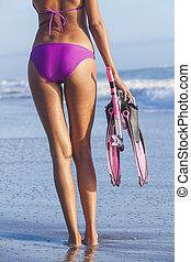 Sexy Woman Beach Girl in Bikini Snorkel Mask Flippers