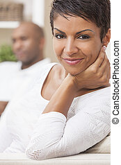 African American Man Woman Couple At Home