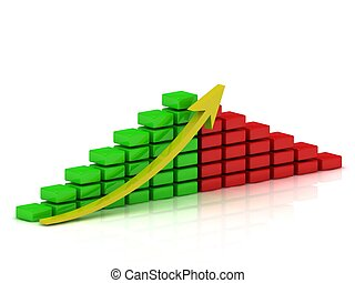 Business growth chart of the red and green blocks with a yellow