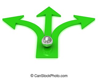 Three green arrows in different directions with the ball of...