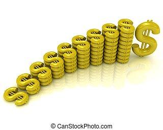Monetary gold reserves on a white background