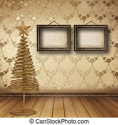 Christmas golden spruce in the old room, decorated with...