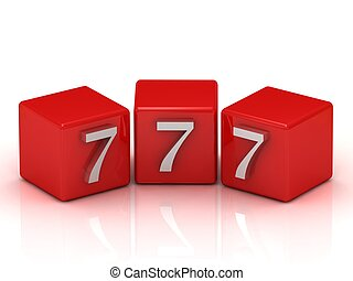 777 number on the red cubes isolated on white background