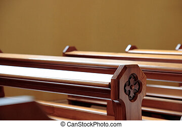 church pews - empty pews at a church in ireland