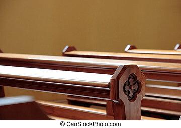 church pews - empty pews at a church in ireland