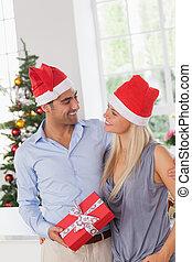 Smiling couple at christmas wearing santa hats