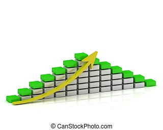 Business growth chart of the white and green blocks with a yellow arrow