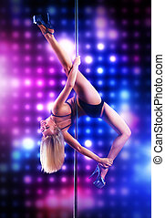 Young pole dance woman on lights background.