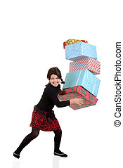 girl dropping pile christmas gifts - Young girl dropping...