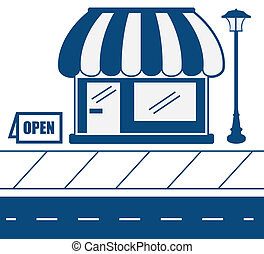 Store Front Sidewalk - Store shop front in blue with...