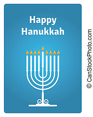 Blue Hanukkah card with a candle