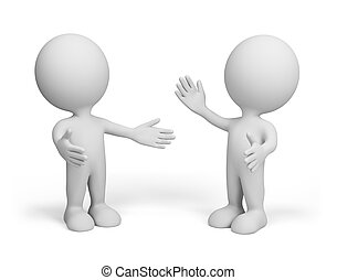 Two friends - Meeting of two friends 3d image Isolated white...