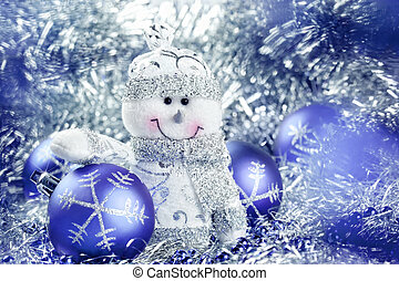 Christmas background with snowman and balls - Christmas...