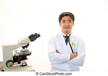 Smiling asian medical doctor - Doctor with a microscopic...