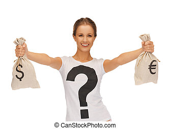 woman with dollar and euro signed bags - picture of woman...