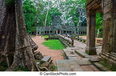 Ta Prohm, Angkor Wat - Facade of Ta Prohm temple in Angkor...