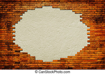 Grungy paper background surrounded by brick frame isolated