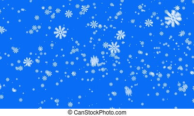 Snow on blue background, loop