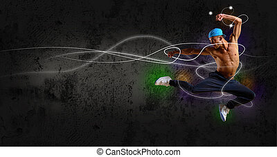 hip hop dancer jumping, space for text, collage