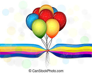 Multi-colored balloons on a beautiful background