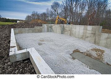 casa, cimento, fundação