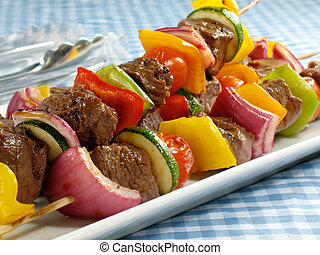 Delicious Steak Kebabs - Juicy steak kebabs with bell...