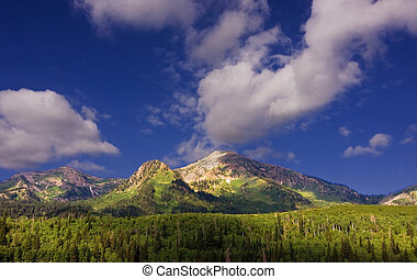 Mountain Summer - Rocky Mountains in the spring showing...
