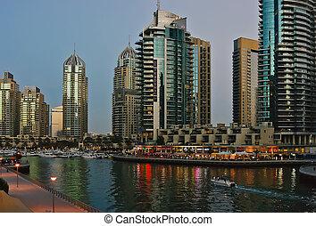 Dubai Marina at sunset. United Arab Emirates