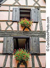 Bergheim Alsace - House and flowers - Bergheim Bas-Rhin,...